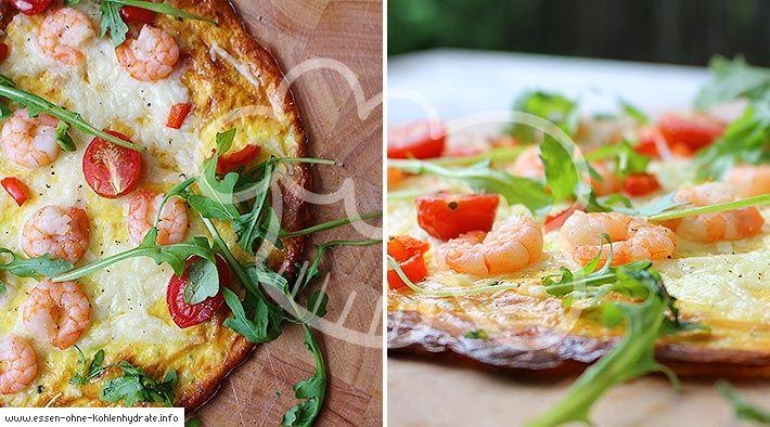 Low-Carb Pizza mit Garnelen