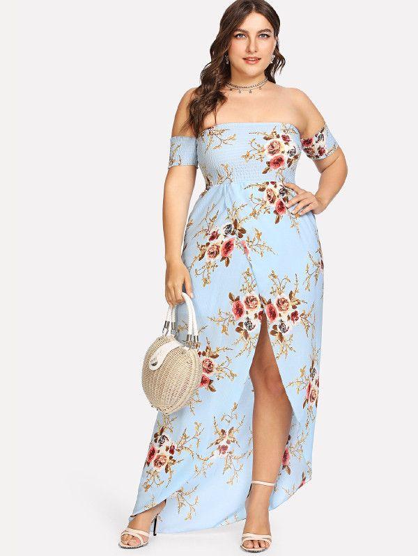ff00cb15c4 Plus Floral Print Split Long Dress -SheIn(Sheinside) | Dresses ...
