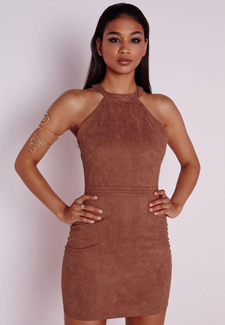 Faux Suede Topstitch Bodycon Dress Tan - Dresses - Bodycon Dresses - Missguided