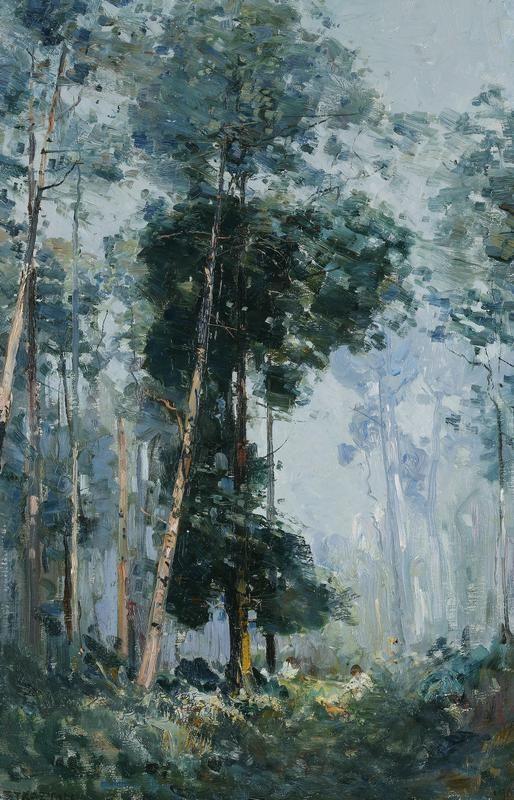 A Sunlit Mountain 1907, Oil on canvas, 76.5 x 51 cm. Arthur Streeton.