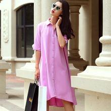 2016 Летом Новая Мода Европейский Элегантный Свободные Талии Половина Рукав Рубашки Платье с отложным Воротником Сплошной Цвет Линии Платья женская(China (Mainland))