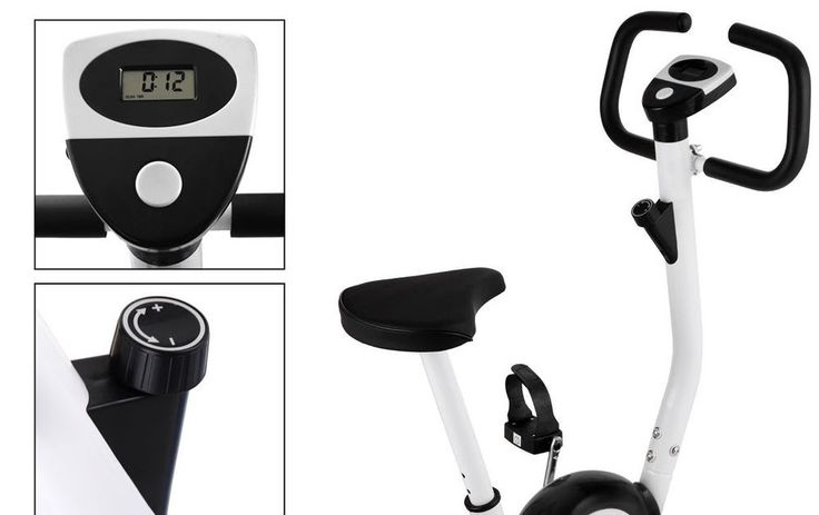 Upright Exercise Bike Magnetic Resistance Cardio Workout Stationary Cycle Black