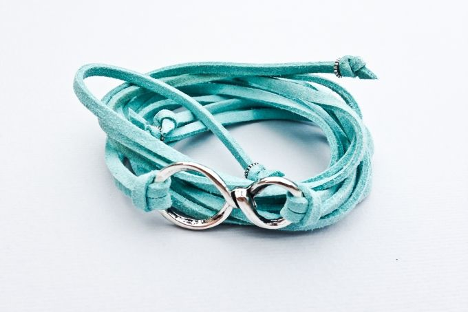 Turquoise Suede Leather Infinity Arm Wrap by Euvella on hellopretty.co.za