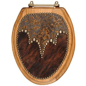 Okay...if I had to go all out with the western theme in a bathroom...this toilet seat is classy !    Cowhide & Leather Toilet Seat