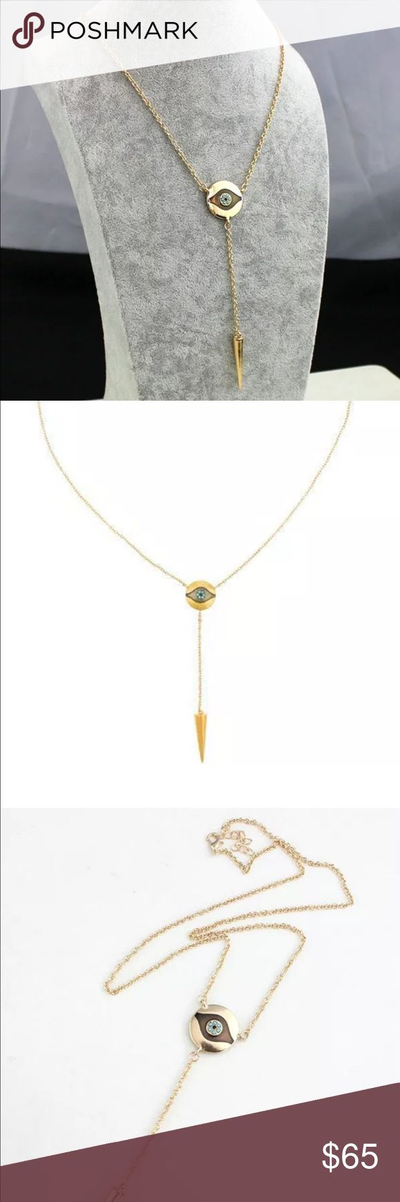 Eye Pendent Necklace Gold pendent protection eye drop spike necklace. 18k gold plated. HOLIDAY SALE HOLIDAY SALE Bundle 2 or more items to receive 30% off Jewelry Necklaces