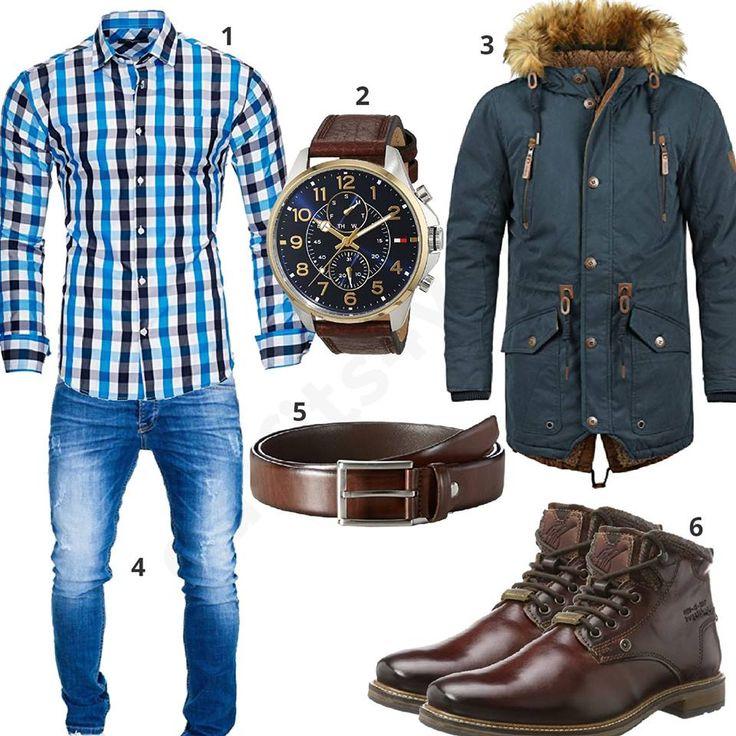 Herrenoutfit mit kariertem Kayhan Hemd, Solid Parka mit Kunstfellkragen, blauer Merish Jeans, Fossil Uhr mit Armband, MLT Ledergürtel und Bugatti Stiefeln.