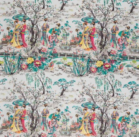 Japanese Garden Fabric A wonderful printed linen fabric featuring a classic Japonais scene of kimono-clad ladies beside an ornamental brook, coloured in a fresh and contemporary manner. Shown in watery turquoise, pink and yellow on a pale aqua ground.