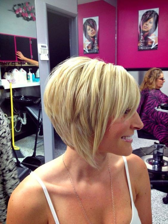 Medium Stacked Bob Haircut with bangs