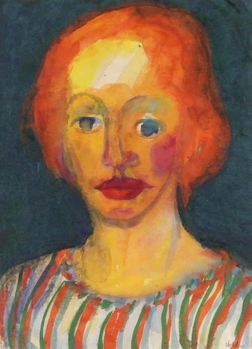 Young Woman in Striped Blouse - Emil Nolde