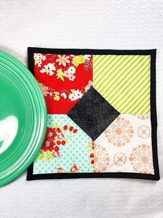 Modern Quilted Pot Holder or Hot Pad  Potholders  Hotpads  Trivet  Housewarming Gift  Hostess Gift  Unique  Handmade
