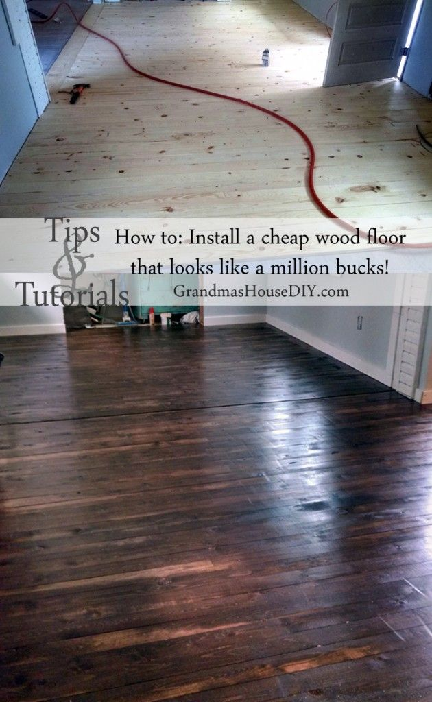 DIY cheap make your own solid wood floors for a fraction of the cost @GrandmasHousDIY......love this floor !