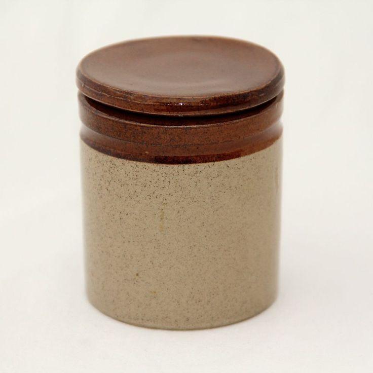 Moira Farmhouse Two Tone Stoneware Preserve Jam Jar & Lid Vintage 3.25in Tall