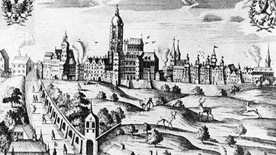 Kresba Pražského hradu z odbdobí defenestrace v roce 1618