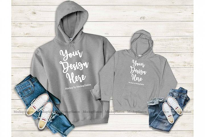 Download Mommy And Me Gray Hoodie Mockup Matching Family Hoodies 352730 Clothing Design Bundles Hoodie Mockup Design Mockup Free Grey Hoodie