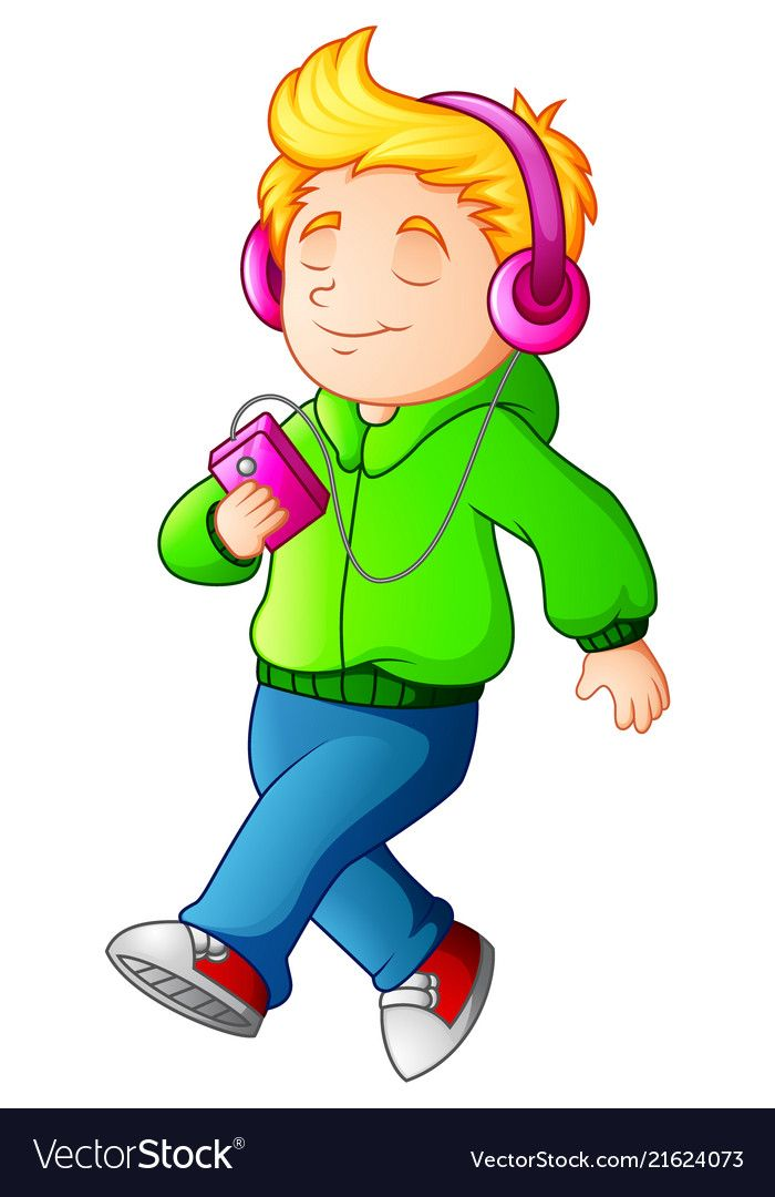 Illustration Of Cartoon Boy Walking And Listening Music Player Download A Free Preview Or High Quality Adobe Illustrator Ai E Cartoon Boy Boy Walking Cartoon