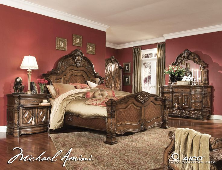 King Size Bedroom Sets Aico 6pc Windsor Court King Size Bedroom Set In Vintage Fruitwood