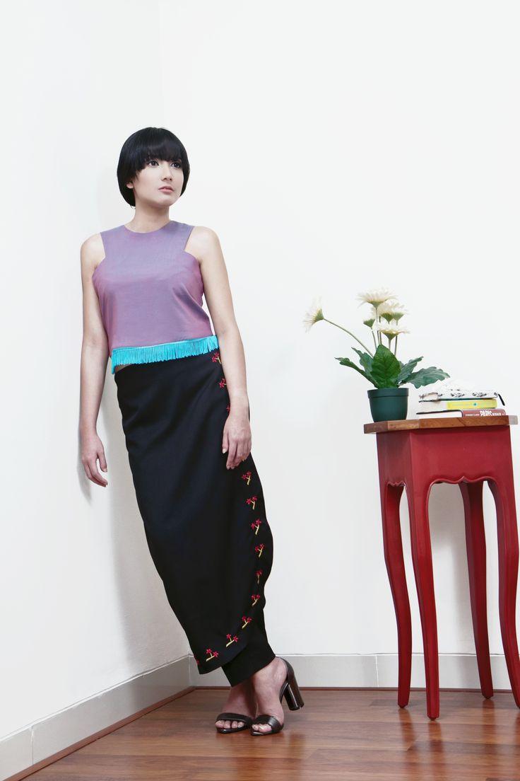 Rockabilly Fringe Crop Top // Onii-Kei Paperbag Trousers