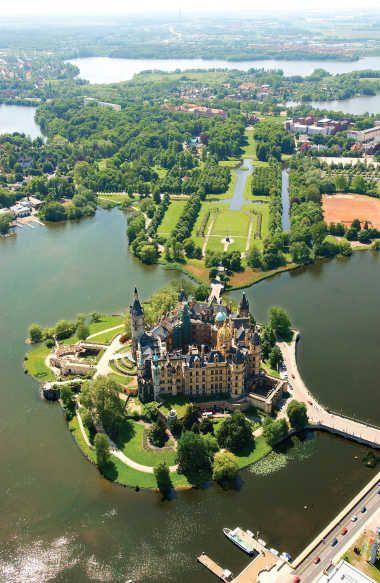 Aerial view of Schwerin Castle, Mecklenburg-Vorpommern, Germany