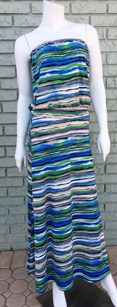 Blue, Black, Gray Stripe, Strapless Maxi Dress