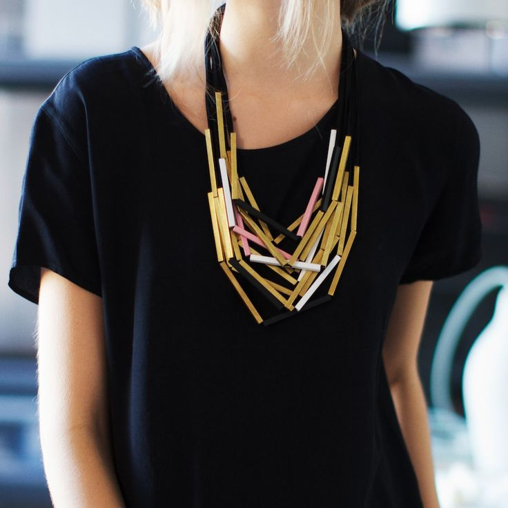 Iacoli & McAllister brass and suede necklace.