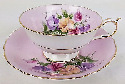 Vintage Paragon Sweet Pea Flower on Pink Tea Cup and Saucer - England