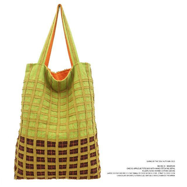KAMI - BG 002 KI SEAGRASS Checks applique tote bag with hand stitching detail in 100% hand woven cotton canvas . Chocolate Brown/ Citronelle/ Antique Moss/ Harvest Pumpkin . Available in large (50 cm x 40 cm x 5 cm) & small (39 cm x 32 cm x 3 cm) . #checksapplique #totebag #seagrass #livingbythesea #autumn2015 #kamithelabel #localbrandid