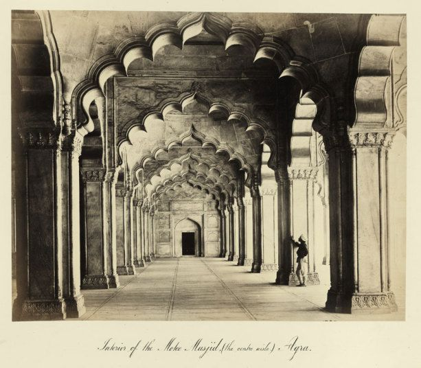Samuel Bourne. A view of the Masjid, Agra (1860s). From an album of 28 photographs