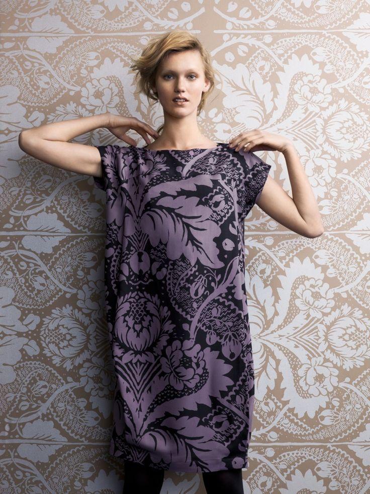 Purple wallpaper print dress - ornate pattern fashion // Marimekko