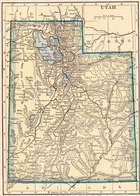 Vintage Map Of Utah This Is An Original Not Reproduction Vintage Map Which Was