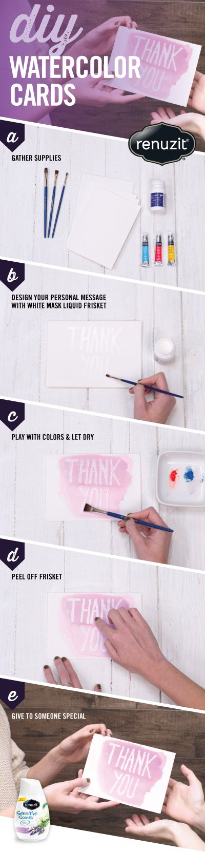 """This New Year create AMAZING DIY Watercolor Cards for a thoughtful way to say """"Thank You"""" to all your loved ones for their holiday gifts. ALSO, keep your home smelling fresh and inviting for them (without overpowering their noses) with new Renuzit Sensitive Scents!"""
