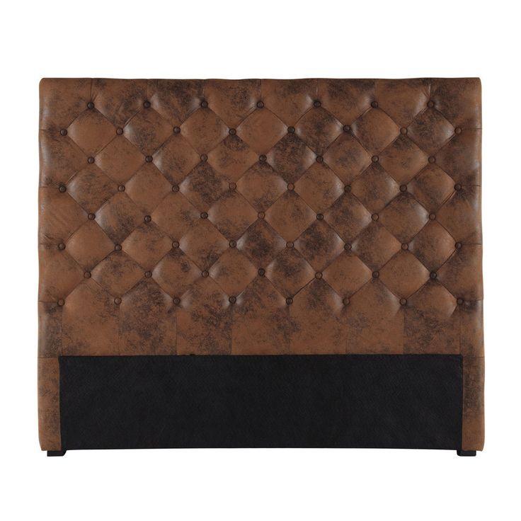 Tête de lit capitonnée imitation cuir marron L 140 cm