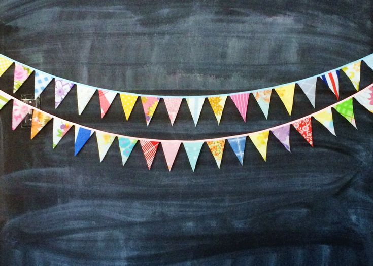 Mini flag bunting - cute and colorful fabric flag banner