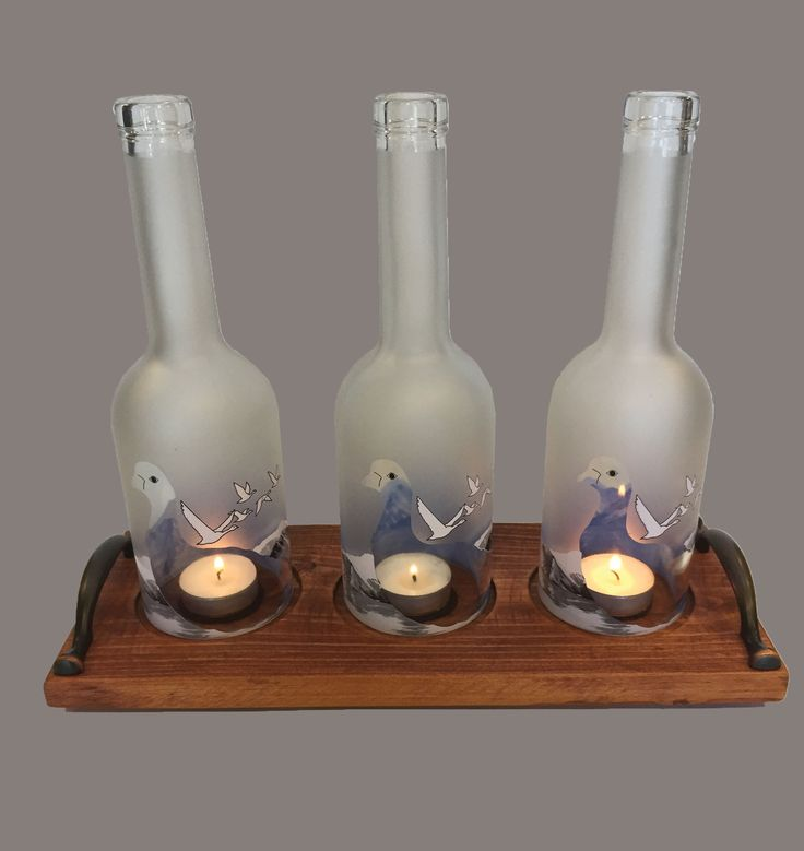 3 Bottle Grey Goose Candle Holder-Maple
