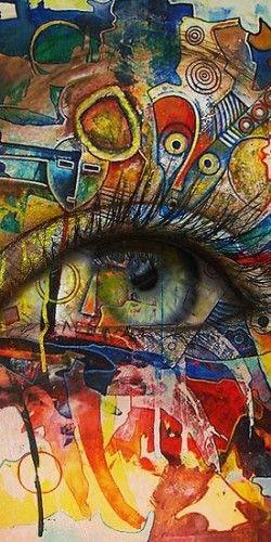 Graffiti Street Art - Beautiful Eye (colorful)