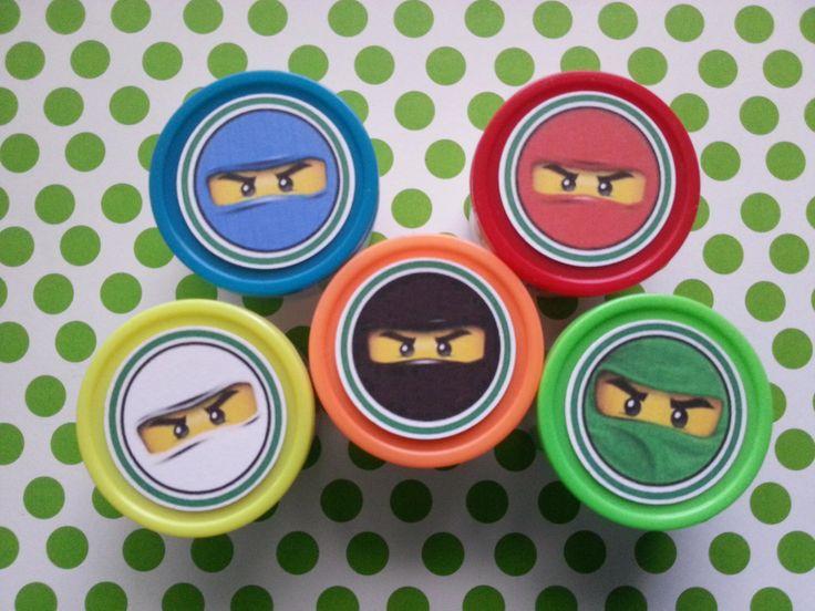 8 Ninjago miniature play dough party favors, cars, Thomas the train, jake and the neverland pirates, mario, minion, Sofia by bellecaps on Etsy https://www.etsy.com/listing/226756658/8-ninjago-miniature-play-dough-party