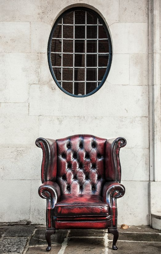 Shot in Chelsea, London..perfect place for a lovely Red Queen Anne Chesterfield Armchair