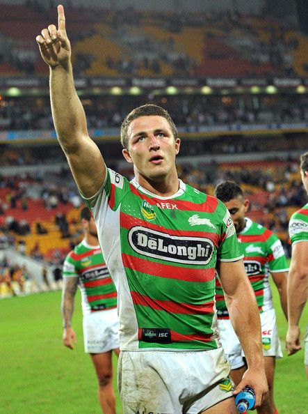 Sam Burgess of the Rabbitohs celebrates victory after the round eight #NRL match between the Brisbane Broncos and the South Sydney Rabbitohs at Suncorp Stadium on May 3, 2013 in Brisbane, Australia.