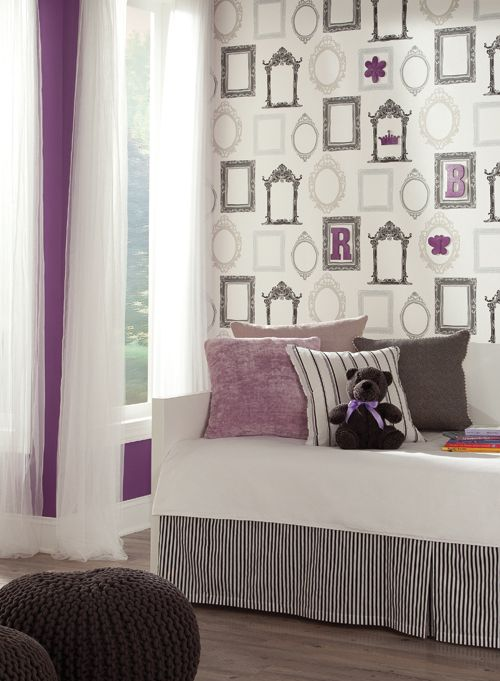 Modern and mature bedroom with Fancy Frame wallpaper and a shock of purple at http://lelandswallpaper.com
