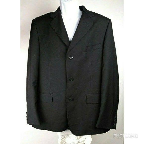Baroni Men's Black Suit jacket 42 r 3 button #Baroni #ThreeButton