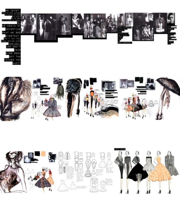 Fashion Sketchbook - fashion design, collection development concept drawings; fashion portfolio layout // James Whitehouse