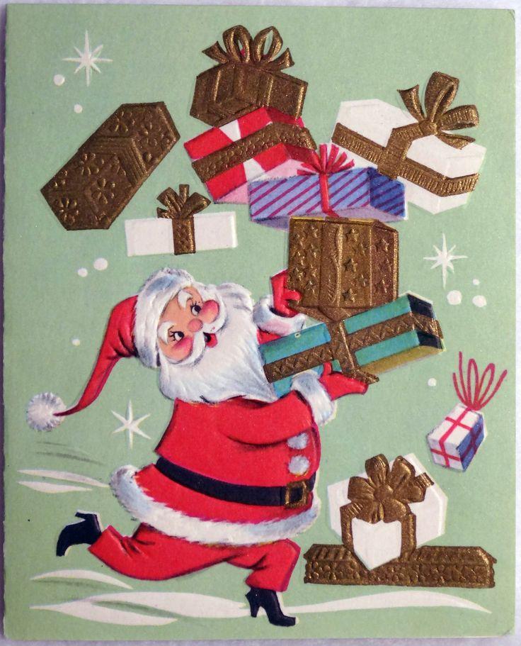 361 50s Mid Century Modern Santa Claus Vintage Christmas Greeting Card | eBay