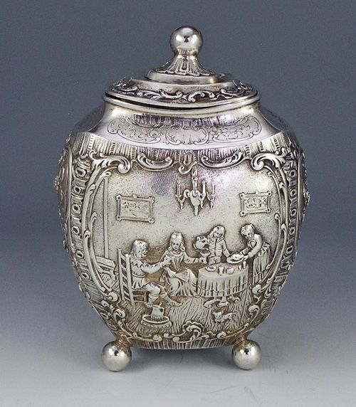german silver oval figural tea caddy