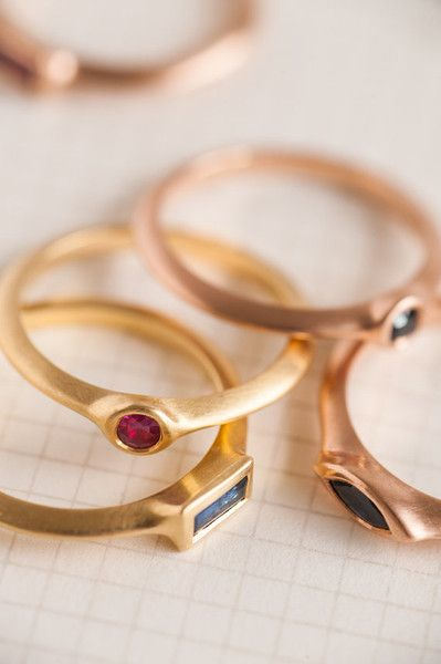 Our round ruby engagement gold ring is a dainty ring with a small sapphire set within the ring. This ring is part from the 'Strings' rings family, a series of rings with a triangle profile and a...