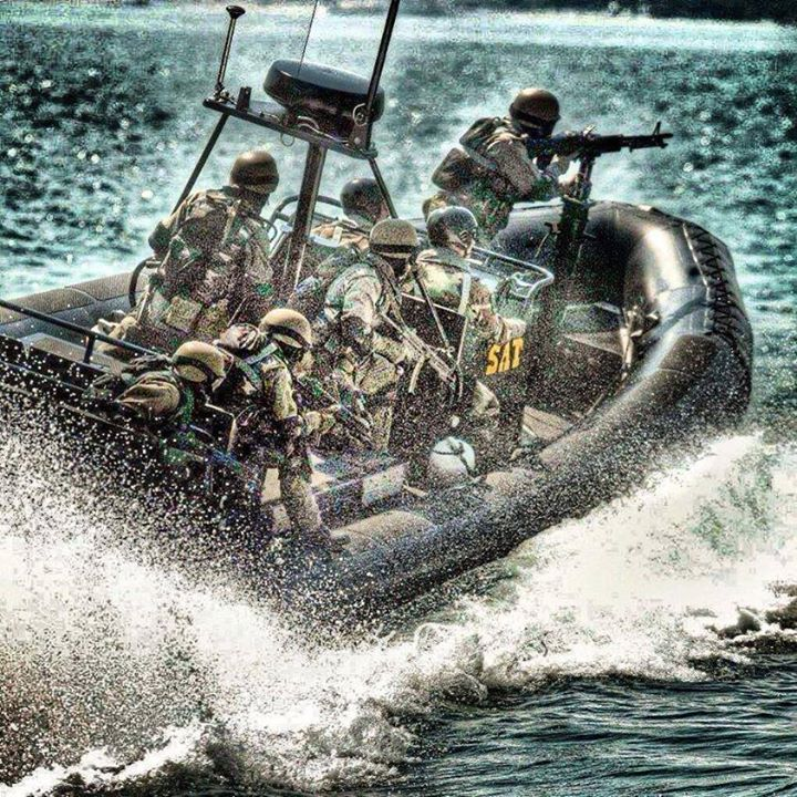 Turkey Naval Forces elite Underwater Offence Group Commando (SAT) operatives on patrol in a RHIB.