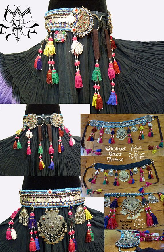 Tribal belly dance belt. ATS This belt is a size large to XL. It measures 37 from ring to ring. All vintage materials. Built well. Vintage and antique components. wickedgeartribal.etsy.com