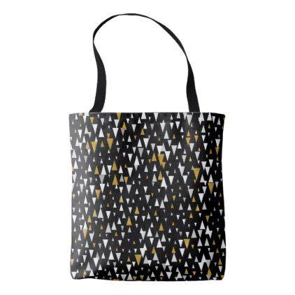 Triangle Modern Art - Black Gold Tote Bag - accessories accessory gift idea stylish unique custom