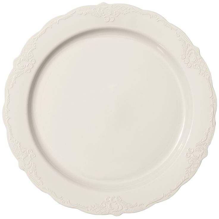 Save On Low Cost Vintage Ivory High End Plastic Buffet Salad Plates For Fancy Showers Holiday Catering Weddings A Budget