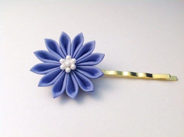 青藤色の菊ヘアピン - 鳥待月