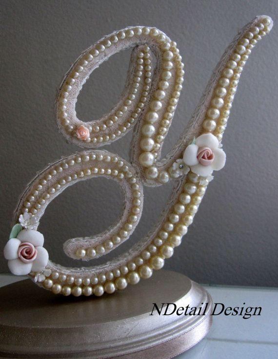 Monogrammed Custom Vintage Pearl Wedding Cake topper by NDetailDesign, $105.99