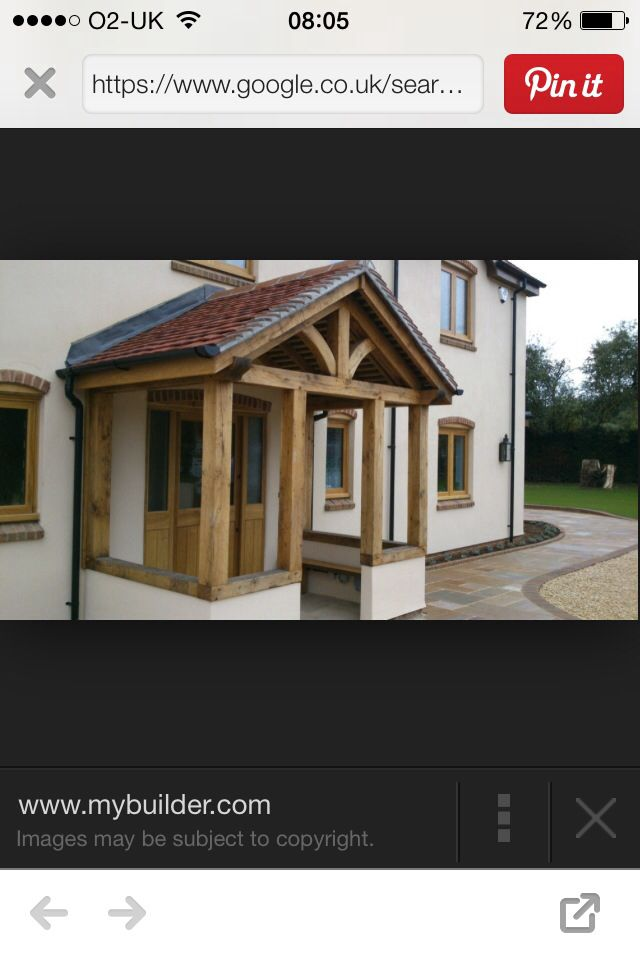Oak frame semi enclosed porch with tile roof